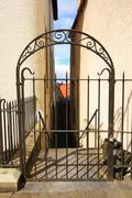 old, metal gate - stock photo