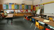 Stock Video Footage of Shot of empty elementary school classroom