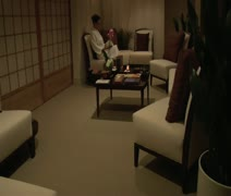 Woman relaxes in Asian spa Stock Footage
