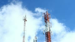 time-lapse modern cell and antenna on blue sky - stock footage