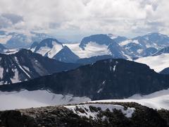 Snowy mountains of Jotunheimen NP - stock photo