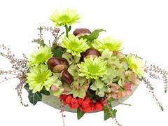 Modern autumnal floral arrangement Stock Photos