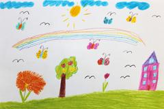 Children's drawing with butterflies and flowers Stock Photos