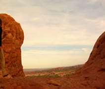 Two female hikers on Turret Arch Stock Footage