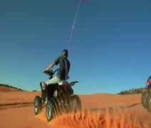 high shutter speed ATV riders on standards - stock footage