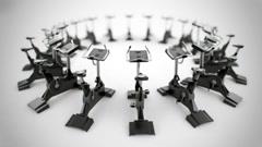 Gym equipment stationary bikes. - stock footage