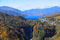 Kegon falls and lake chuzenji in nikko, japan. Stock Photos