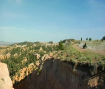 Vista of Bryce national Park and ATV riders Stock Footage