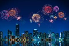 fireworks in miami - stock photo