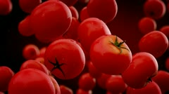 Falling tomatoes slow motion heathy diet vitamines fresh - stock footage