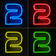 Neon sign number two Stock Illustration