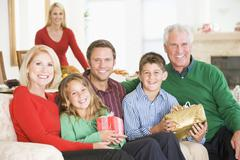 Portrait Of Family At Christmas Stock Photos