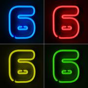 neon sign number six - stock illustration