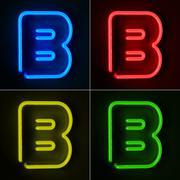 Neon sign letter b Stock Illustration
