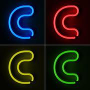 Neon sign letter c Stock Illustration