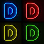Neon sign letter d Stock Illustration