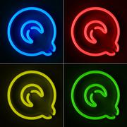 neon sign letter q - stock illustration