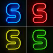 neon sign letter s - stock illustration