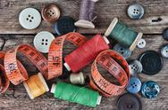 Still life of spools of thread Stock Photos