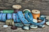 Still life of spools of thread Stock Photos