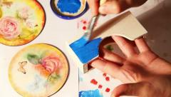Decoupage painting timelapse process Stock Footage
