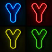 Neon sign letter y Stock Illustration