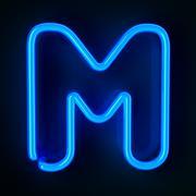 Neon sign letter m Stock Illustration