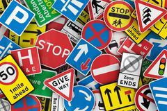 Many british traffic signs Stock Photos