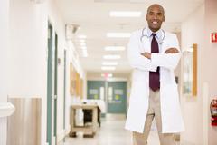 Doctor Standing In A Hospital Corridor Stock Photos