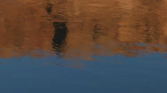 Red rock cliffs reflected in water on the Colorado River Stock Footage