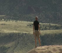 Man admires view in Capitol reef national Park Stock Footage
