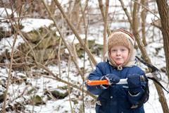 Small boy with ice axe Stock Photos