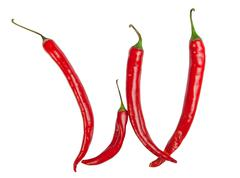 w letter made from chili - stock photo