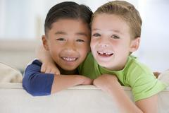 Portrait Of Two Boys Stock Photos