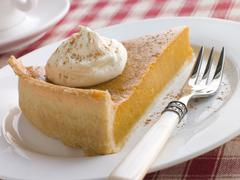 Slice Of Pumpkin Pie With Whipped Cream Stock Photos