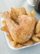 Portion Of Chicken And Chips On A Polystyrene Tray Stock Photos