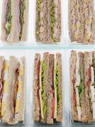 Selection Of Take Away Sandwiches In Plastic Triangles Stock Photos