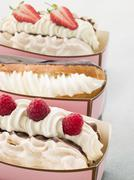 Creamed Meringue And Chocolate Eclair Stock Photos
