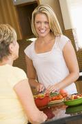 women preparing dinner - stock photo