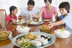 Stock Photo of family enjoying meal,mealtime together