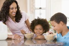 children eating breakfast - stock photo