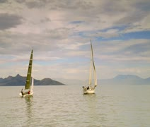 Two sailboats on the Great Salt Lake Stock Footage