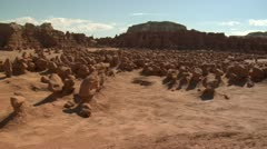 panning shot across goblin Valley Utah right to left - stock footage