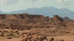 zoom out shot of goblin Valley Utah - stock footage