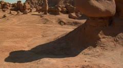 tilt up shot of goblin Valley Utah - stock footage
