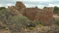 Panning shot revealing ruins at at Hovenweep national Monument Stock Footage