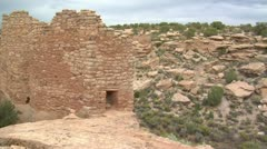 Panning shot of ruins at Hovenweep national Monument Stock Footage
