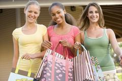 Teenage girls out shopping Stock Photos