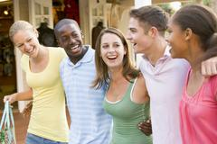 Group of teenagers out shopping Stock Photos