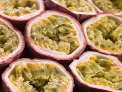 Halved passion fruit Stock Photos